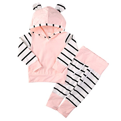 Newborn Baby Boy Girls Hoodie Long Sleeve Striped Top Pants Kids Clothes (6-12 Month, Pink)