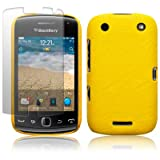 BLACKBERRY CURVE 9380 YELLOW TEXTURED PU LEATHER BACK COVER CASE / SHELL / SHIELD + SCREEN PROTECTOR PART OF THE QUBITS ACCESSORIES RANGEby Qubits