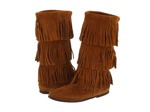 Minnetonka Women's Calf Hi 3-Layer Fringe Boot (7, Brown)