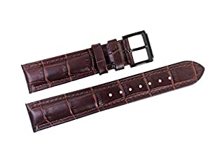 21mm Brown Luxury Italian Leather Replacement Watch Straps/Bands Grosgrain Padded for High-end Watches