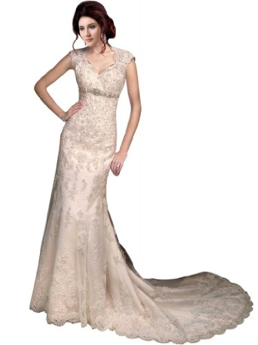 GEORGE BRIDE Sleeveless Lace Over Satin Chapel Train Wedding Dress With Sexy Back Size 8 White