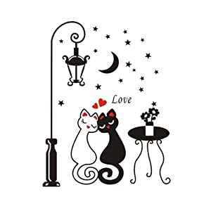 Cats Wall Sticker Decal Kids Boys Girls Room Home Decor House Home Decorative Sticker by BestMall Co., LTD