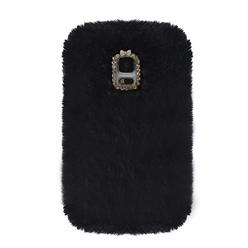 Galaxy S5 Case, TURF Winter Series Soft Rabbit Fur Back Cover with Bling Diamond Crystal Chain Tiny Bow for Samsung Galaxy S5 i9600