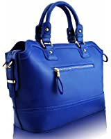 KCMODE Womens Double Handles Studs Professionals Office Leather Handbag