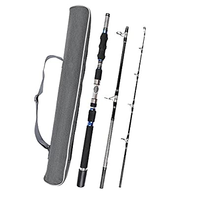 Fiblink 3-Piece Heavy Spinning Fishing Rods Portable Graphite Spin Rod (30-50-Pound Test) by GW