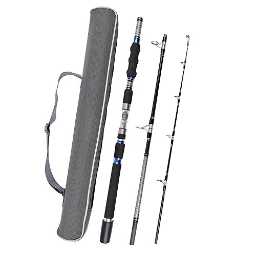 3 piece spinning rod heavy spinning fishing rod portable for Heavy fishing rod