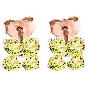 QP Jewellers Natural Peridot Stud Earrings in 9ct Rose Gold, 1.15ct Round Cut - 1742R