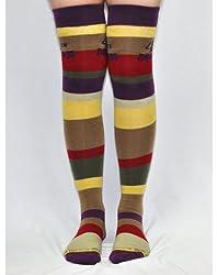Doctor Who Tom Baker Fourth Doctor Over The Knee High Socks (Size 4-10)