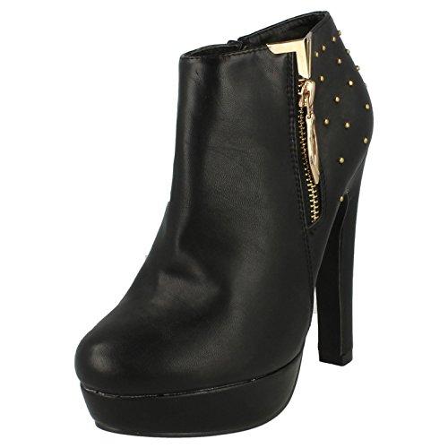Spot On Tacco Alto Piattaforma Stivali alla Caviglia Zip Oro Decorazione Studded heelcap, nero (Black), 39