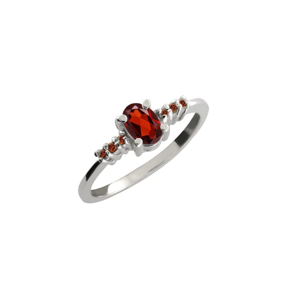 0.59 Ct Oval Red Garnet and Cognac Red Diamond Sterling Silver Ring