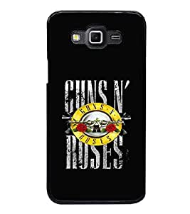 Fuson Premium 2D Back Case Cover Gun and rose With Multi Background Degined For Samsung Galaxy Grand 3 G720::Samsung Galaxy Grand Max G720