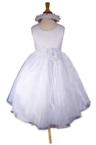 E1002a NEW White Flower Girl Communion Pageant Easter Dress Size 2 to 12 (12, White - Your order will be shipped out on the same or next business day. Orders arrive in 3 to 5 business days.)