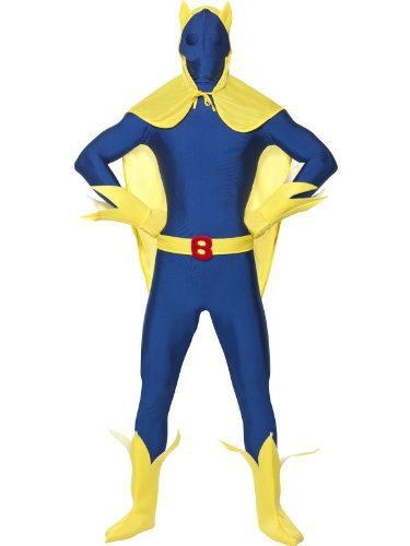 Official Smiffy's Bananaman Second Skin Costume with Cape, Gloves and Boot Covers. Two Sizes.