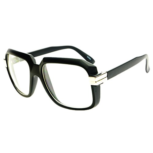 legendary run dmc cazal style gazelle retro square clear lens eye glasses matte black