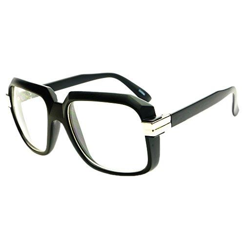 legendary run dmc cazal style gazelle retro square clear lens eye glasses matte black