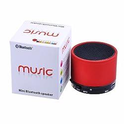 KONARRK Portable Bluetooth Mini Wireless Speaker With MIC FM Memory Card Slot USB Slot (RED)