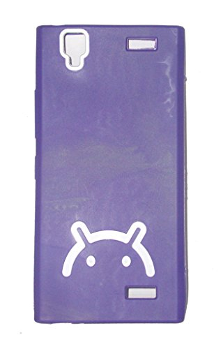 ECellStreet Gionee Gpad G5 Android Logo Smiley Soft Back Case Cover Back Cover White In Purple