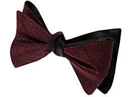 Interlaced Solid 100% Woven Silk Black and Burgundy Reversible Self-Tie Bow Tie