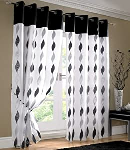 White Black Silver Curtains Eyelet Wave Lined Voile 56 39 39 X 90 39 39 Kitchen Home