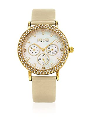SO & CO New York Reloj con movimiento cuarzo japonés Woman Mother of Pearl and Crystal 38 mm