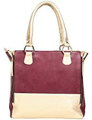 OMNESTA Office Women's Handbag (Maroon & Gold, DAZ005_MAROON)