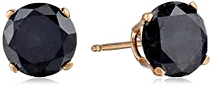 2 cttw Black Diamond Stud Earrings 14k Yellow Gold