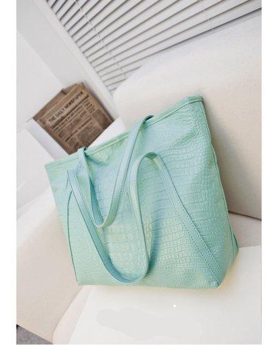 TGLOE 2014 nouvelle mode Sac à main Grand crocodile noir Motif épaule Rétro Portable Bag Ladies (Bleu)