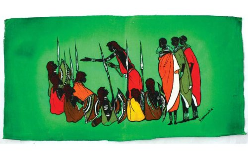 Small African Batik Painting - Massai Warriors 10 x 18