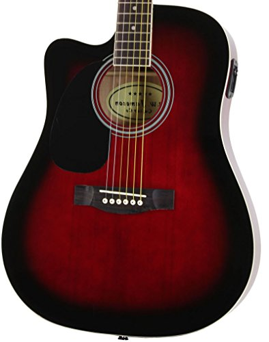 Red Left Handed Full Size Thinline Acoustic Electric Guitar with Free Gig Bag Case & Picks (Full Size Thinline Acoustic compare prices)