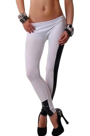 reine à la mode- Legging pantalon Collant Elastique Sexy Taille libre (blanc)