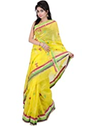 Exotic India Buttercup-Yellow Chanderi Sari With Hand-Woven B - Buttercup Yellow