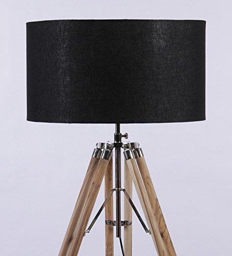 NAUTICALMART Look elegante in legno naturale di supporto treppiede Piantana, cromato
