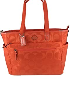 Coach Signature Nylon Baby Diaper Bag 77577 Hot Orange by Coach