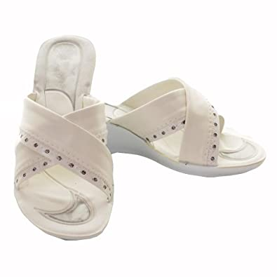 Ladies Heeled Summer Casual Shoes Wedge Sandals Size Shoes White 3 UK