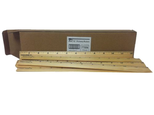 Charles Leonard Primary Ruler, 1/16 Inch Increments, 36 per Box, Varnished Natural Wood, 1 Box  (77556)