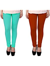 Snoogg Womens Ethnic Chic Inspired Churidar Leggings In Sky Blue And Brown