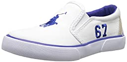 Polo Ralph Lauren Kids Victory Fashion Sneaker (Toddler), White/Royal, 4 M US Toddler