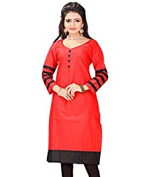 Clickedia Women's Cotton A line long Red Kurta