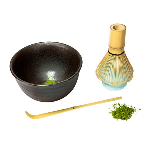 Find Discount KENKO - Japanese Matcha Tea Ceremony Set 4 Pce - Bamboo Whisk, Matcha Scoop, Ceramic M...