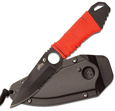 Master USA MU-1121 Series Tactical Fixed Blade Neck Knife, Half-Serrated Blade, 6-3/4-Inch Overall