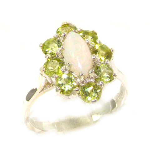 Luxury Ladies Solid White Gold Natural Opal & Peridot Marquise Cluster Ring - Size 9.25 - Finger Sizes 5 to 12 Available