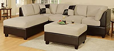 Bobkona Hungtinton Microfiber/Faux Leather 3-Piece Sectional Sofa Set