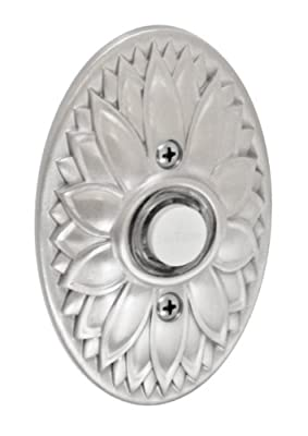 Fusion Hardware BEL-D9-BRN Designer Collection Oval Floral Doorbell, Brushed Nickel, 1-Pack