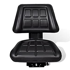 Black Compact Comfortable Durable Waterproof Universal Fits Adjustable Sliding Track Tractor Seat Backrest