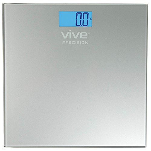 Vive Precision Digital Bathroom Scale - Weight Scale Measuring Device - Electronic Body Scale, Easy to Read, Backlit Display - Accurate to .2 LBs (Silver)