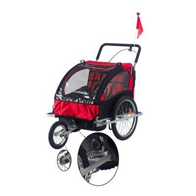 Elite II 2 in 1 Double Baby Bike Trailer Color: Red / Black