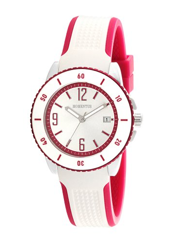 Momentus Stainless Steel with White and Pink Rubber Band White Women's Watch #TR160K-03RB