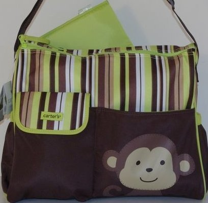 Carter's Diaper Bag Tote- Monkey with Brown/green Stripes by Carter's (English Manual)