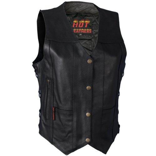 Hot Leathers Ladies Ten Pocket Leather Vest (Black,