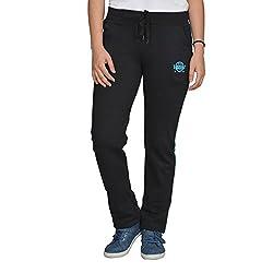 Ladies Cotton Lycra Black Track Pants